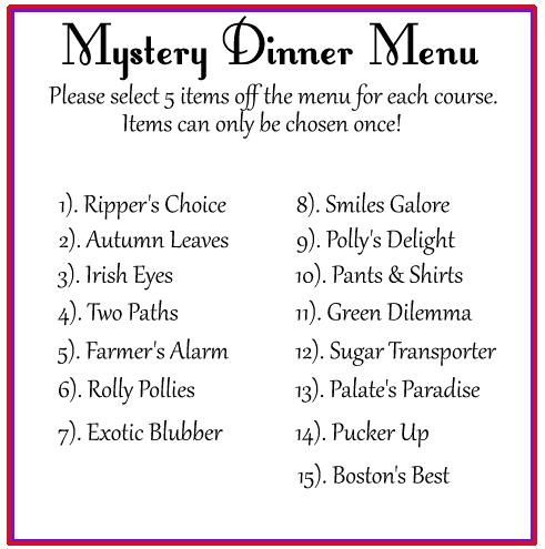roman menu template - mystery dinner red hats victoria